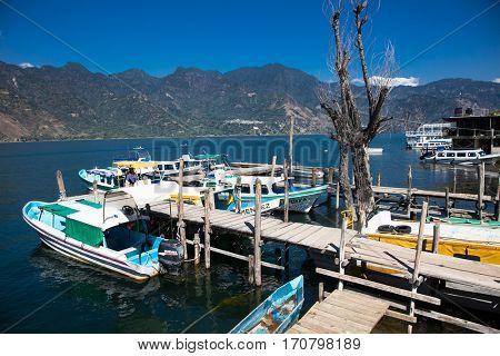 SAN PEDRO, GUATEMALA-DEC 24, 2015: Boat dock in San Pedro at Lake Atitlan on Dec 24, 2015, Guatemala. Central America.