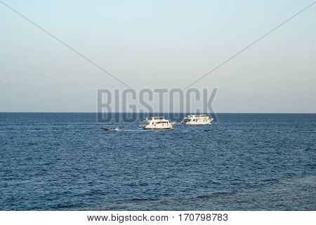 ships at sea. speed boat in the Red Sea.