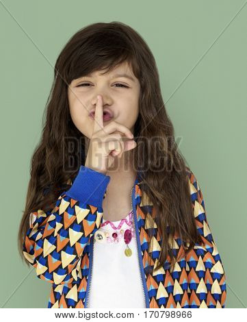 Little Girl Smiling Happiness Quiet Shut Up Secret Shh Portrait