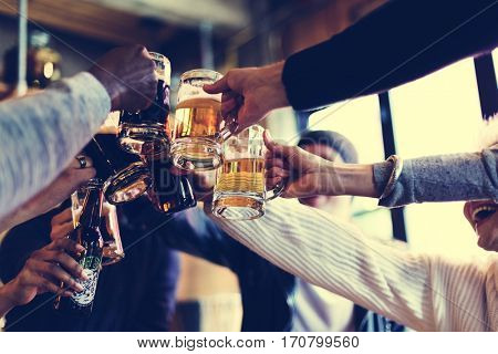 Hands Hold Beverage Beers Bottle Cheers