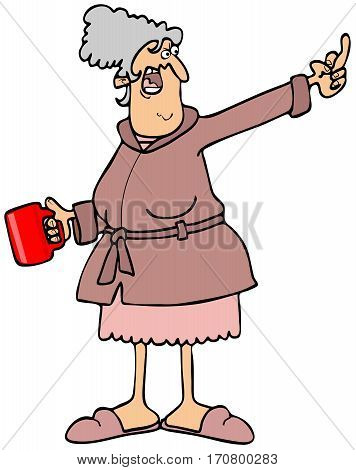 Illustration of an angry old lady holding a cup of coffee and flipping the bird.