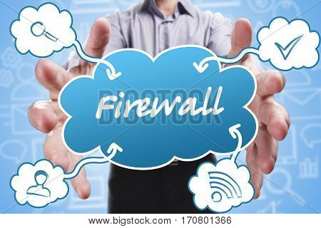 Business, Technology, Internet And Marketing. Young Businessman Thinking About: Firewall