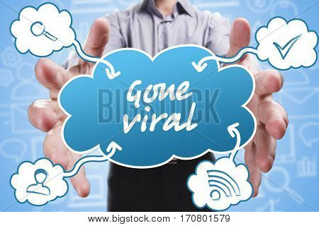 Business, Technology, Internet And Marketing. Young Businessman Thinking About: Gone Viral