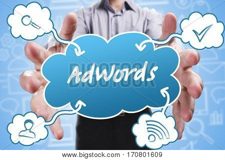 Business, Technology, Internet And Marketing. Young Businessman Thinking About: Adwords