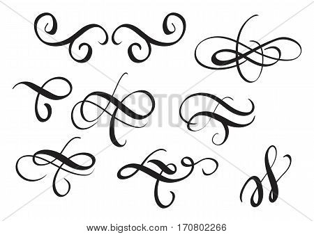 set of vintage decorative whorls for design. Vector illustration EPS10.