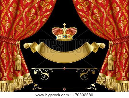 Red curtains with vintage ornament, gold royal crown, vintage banner and other retro decorative design elements isolated on black. Contains the Clipping Path