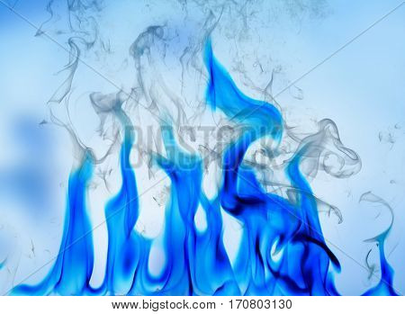 Flame of fire on blue background