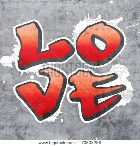 The word LOVE written in a quadrant in graffiti style, with grey brick wall background and paint splashes. Love, romance and Valentine theme.