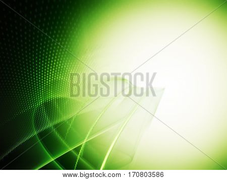 Abstract background element. Fractal graphics series. Composition of glowing lines and mosaic halftone effects. Nature and energy concept. Green colors.