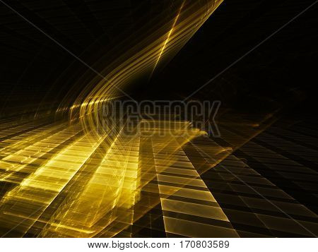 Abstract background element. Three-dimensional composition of glowing grids and wave shapes. Science and technology concept. Golden yellow and black colors.