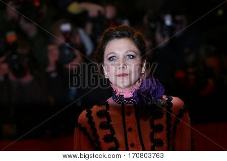 Maggie Gyllenhaal poses on the red carpet during opening ceremony of the 67th Berlinale International Film Festival at Grand Hyatt Hotel in Berlin, Germany on February 9, 2017.