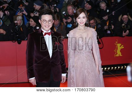 Tang Yan poses on the red carpet during opening ceremony of the 67th Berlinale International Film Festival at Grand Hyatt Hotel in Berlin, Germany on February 9, 2017.