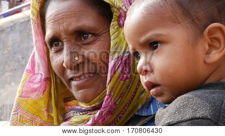 Indian Mum with her son