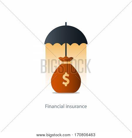 Insurance umbrella, financial coverage, vector illustration icon