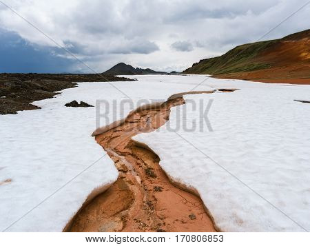 Geothermal area Leirhnjukur. Thawed patch in the snow. Area Krafla volcano, Iceland, Europe.