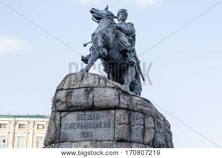 KIEV UKRAINE - JULY 31 2016: Historic monument of famous Ukrainian Hetman Bogdan Khmelnitsky on Sofia square