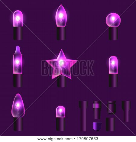 Set of purple shining garland lights with holders isolated on background. Christmas, New Year party decoration realistic design elements. Glowing lights for Xmas. Holiday greeting design.