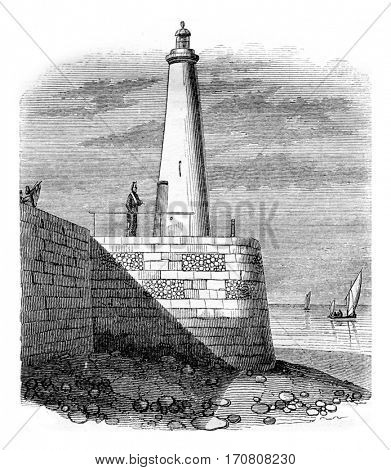 Fire tower Honfleur, vintage engraved illustration. Magasin Pittoresque 1842.