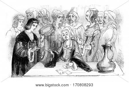 Philippe Lebon consulting a fortune-teller, vintage engraved illustration. Magasin Pittoresque 1842.
