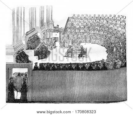 The Council of Trent, vintage engraved illustration. Magasin Pittoresque 1842.