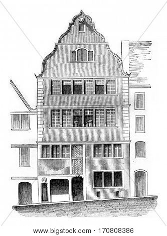 House or is not Beethoven, Bonn, vintage engraved illustration. Magasin Pittoresque 1842.