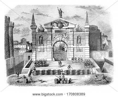 Barricades in the Saint-Antoine in 1648, vintage engraved illustration. Magasin Pittoresque 1842.