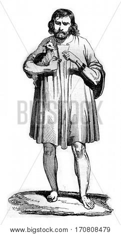The sagum, Gallic peasant, vintage engraved illustration. Magasin Pittoresque 1842.