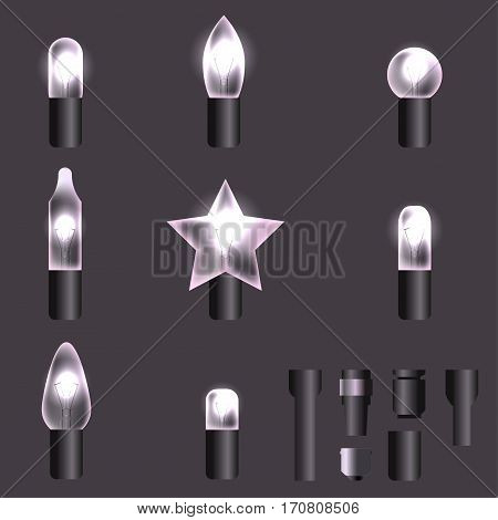 Set of white shining garland lights with holders isolated on background. Christmas, New Year party decoration realistic design elements. Glowing lights for Xmas. Holiday greeting design.