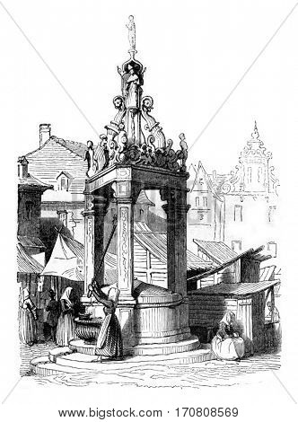 A fountain on the market square of Mainz, vintage engraved illustration. Magasin Pittoresque 1842.