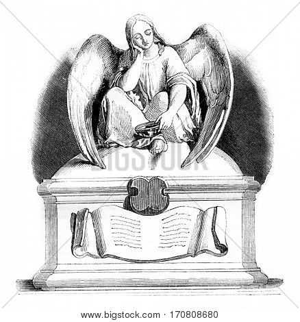 Sculpture, A Throne for the poor, vintage engraved illustration. Magasin Pittoresque 1842.