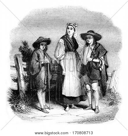 Hungarian costumes Trent China count, vintage engraved illustration. Magasin Pittoresque 1842.
