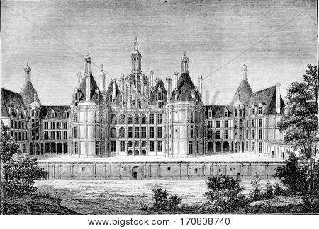 Renaissance Era, Chateau de Chambord, near Blois, vintage engraved illustration. Magasin Pittoresque 1842.