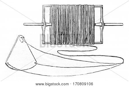 Loch boat, Tour loch or wire feeder, Loch line, Ampoulette or hourglass