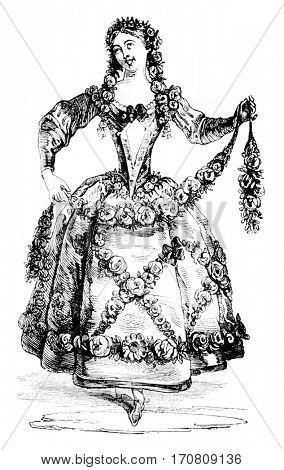 Pleasure costume, vintage engraved illustration. Magasin Pittoresque 1842.