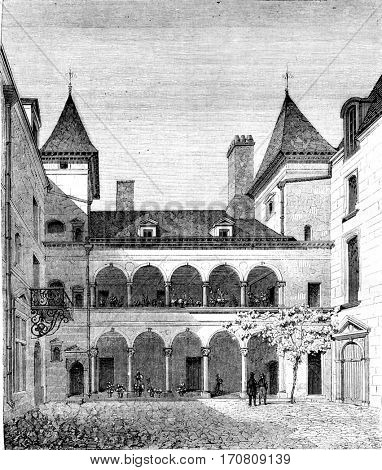 House known as Francois I, has Orleans, vintage engraved illustration. Magasin Pittoresque 1842.