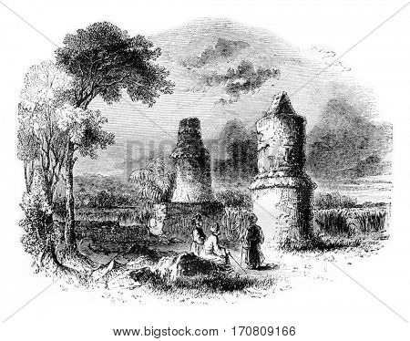 Ancient tombs near Tartous, Syria, vintage engraved illustration. Magasin Pittoresque 1842.