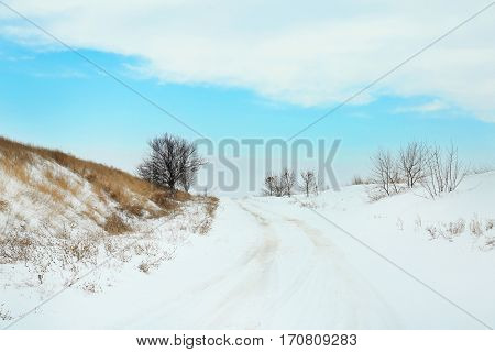 Country side empty road covered with snow