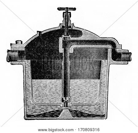 Automatic drain cup, vintage engraved illustration.