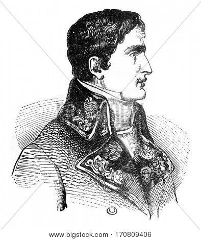 Lucien Bonaparte, vintage engraved illustration. Magasin Pittoresque 1841.