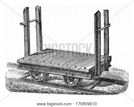 Wagon platform to transport logs, vintage engraved illustration.