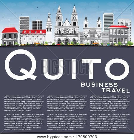 Quito Skyline with Gray Buildings, Blue Sky and Copy Space. Business Travel and Tourism Concept with Historic Architecture. Image for Presentation Banner Placard and Web Site.