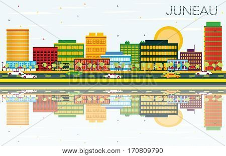 Juneau Skyline with Color Buildings, Blue Sky and Reflections. Business Travel and Tourism Concept. Image for Presentation Banner Placard and Web Site.