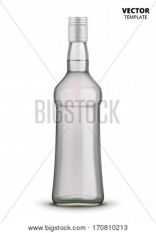 Vodka bottle glass mockup vector isolated on white background. Bottle for design presentation ads. Russian vodka glass bottle template. Design of vector vodka bottle. Original form bottle for design vodka packaging or label.