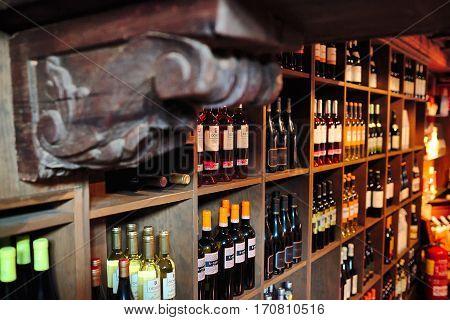 Torrevieja, Spain - July 28, 2015: Wine cellar full of wine bottles. Restaurant El Meson de la Costa in Torrevieja, Spain.