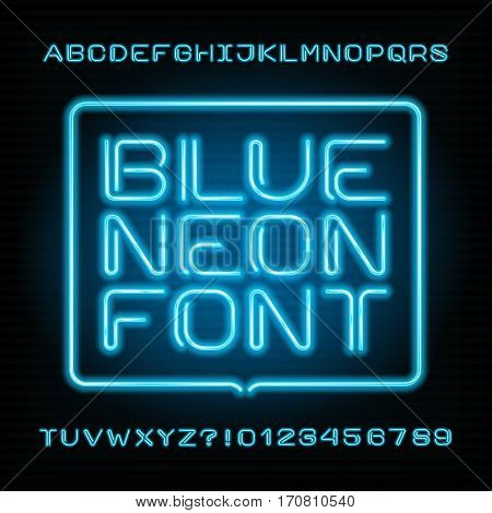 Neon tube alphabet font. Type letters and numbers. Blue color on a dark background. Vector typeset for your design.