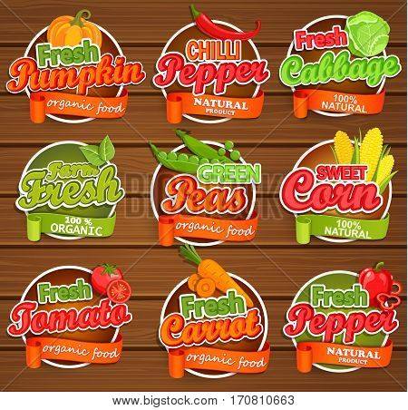 Fresh tomato and pumpkin, pepper, peas, cabbage, carrot, sweet corn, logo lettering typography food label or sticker. Concept for farmers market, organic food, natural product design.Vector.