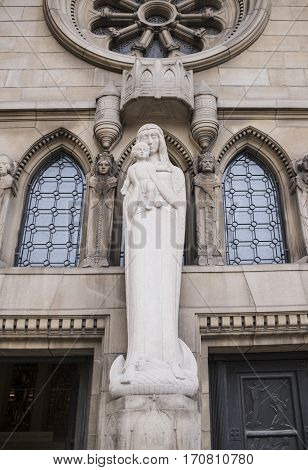 Grand Duchy of Luxembourg Luxembourg- January 032017: Notre-Dame Chatnedral. Sculpture at the entrance to the Cathedral