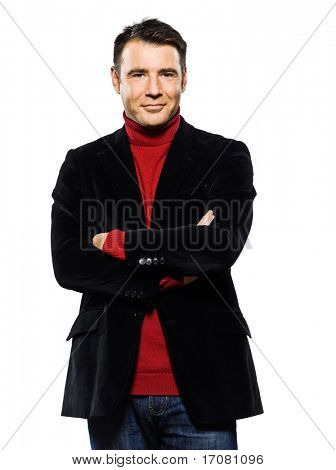 caucasian handsome man portrait smiling cheerfull seductor arms crossed studio portrait on isolated white background
