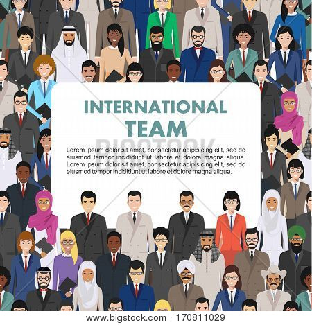 Vector seamless pattern group of creative people, diverse business people standing together. Different nationalities and dress styles. Cute and simple in flat style. Illustration of society members. Design people characters.