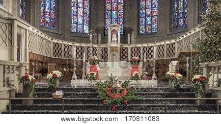 Grand Duchy of Luxembourg Luxembourg- January 032017: Notre-Dame Chatnedral. Interior view